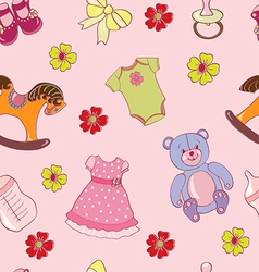 Seamless pattern with girls toys vector