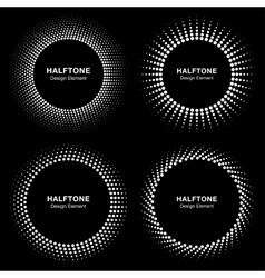 set black abstract halftone circle frame logo vector image
