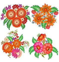 Set hand-painted bouquets flowers vector