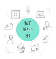 set of audio icons line style symbols with hand vector image