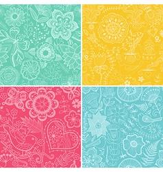 Set of four floral patterns seamlessly tiling vector