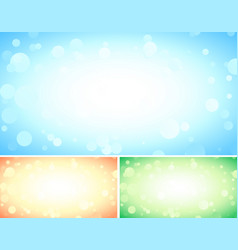 set of three abstract blue backgrounds with bokeh vector image