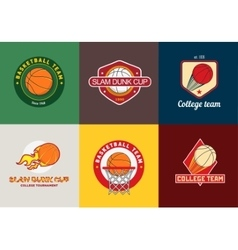 set vintage color basketball championship logos vector image