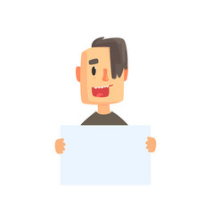 smiling young man with piece of blank paper vector image