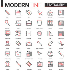 stationery thin red black line icon vector image
