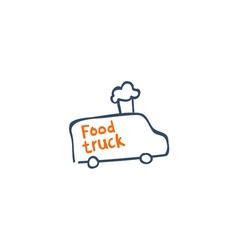 street van with fast food logo design vector image