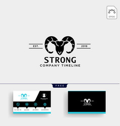 strong horn goat logo template and business card vector image