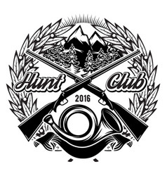 Stylish monochrome hunting club template with vector