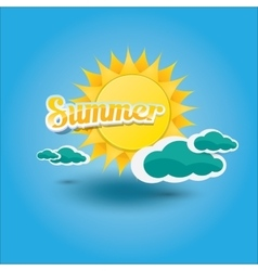 summer label summer icon with sun vector image