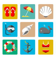 summer marine icons vector image