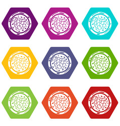 sushi caviar icons set 9 vector image