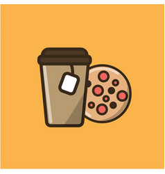 tea drink and choco chip cookie vector image