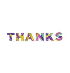 Thanks concept retro colorful word art vector