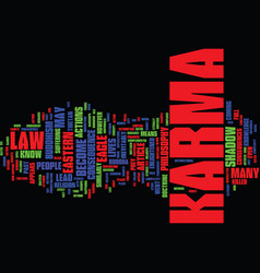 The law of karma text background word cloud vector