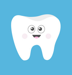 tooth icon cute funny cartoon smiling character vector image