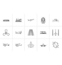 transport hand drawn outline doodle icon set vector image