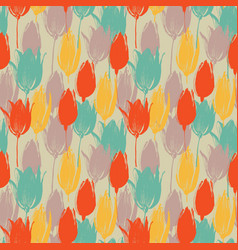 tulip flowers stems seamless pattern in retro vector image