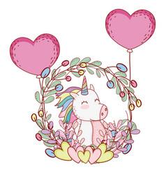 unicorn on leaves wreath vector image
