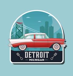 Vintage car logo detroit vector
