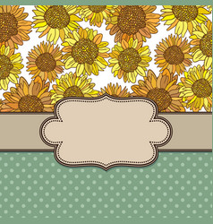 vintage flower frame with sunflowers vector image