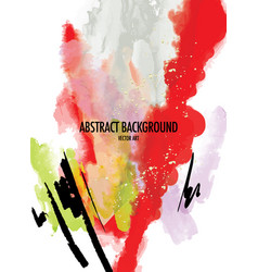 watercolor abstract shape red green vivid poster vector image