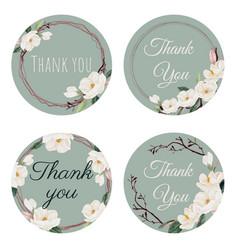 watercolor white magnolia thank you sticker vector image