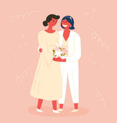 Wedding day two brides lesbian couple marriage vector