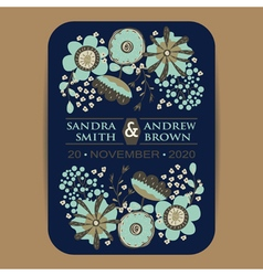 Wedding invItation card with flowers navy blue vector
