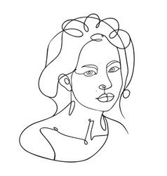 Woman head lineart one line vector