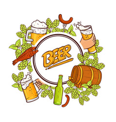 beer label banner emblem design with round frame vector image vector image