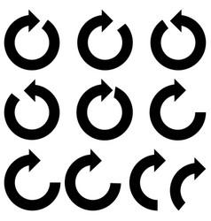 black color circle arrows icon black color vector image
