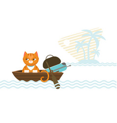 colorful traveling cat concept vector image