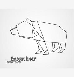 origami logo contour bear vector image vector image