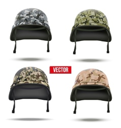 Set of Military camouflage helmets vector image vector image