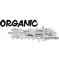 What does certified organic mean text word cloud vector
