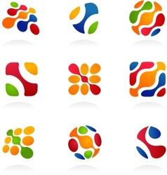 business abstract icons colorful set vector image