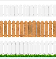 fence with green grass and blue sky vector image