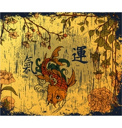 japanese background with koi fish vector image vector image