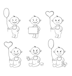 Cartoon children with toys outline vector image vector image