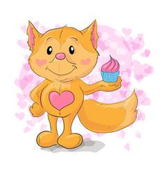 cute little fox with kapkejkom vector image vector image