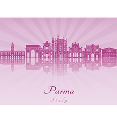 Parma skyline in purple radiant orchid vector image