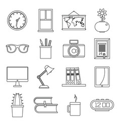 set flat line office and house items vector image