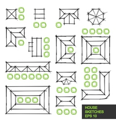 Set of architectural linear sketches vector image vector image
