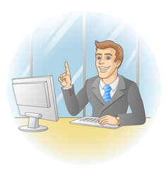 Smiling businessman pointing the finger vector image