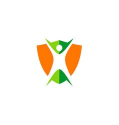 body protection shield logo vector image vector image