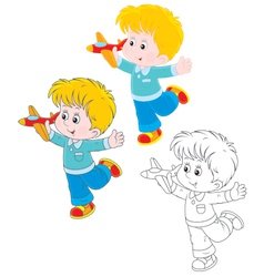 Boy with a plane vector image vector image