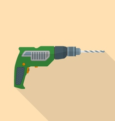 flat style electric hand drill icon with shadow vector image vector image