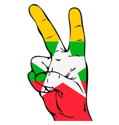 Peace Sign of the Myanmar flag vector image vector image