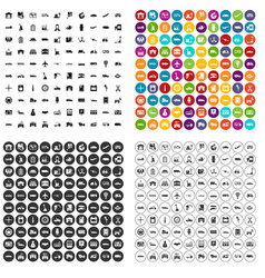 100 transport company icons set variant vector image