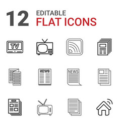 12 news icons vector image